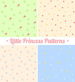 Set of cute seamless patterns for little princess Good for baby birthday scrapbook surface textures greeting cards gift wrap Layered for easy manipulation and custom coloring