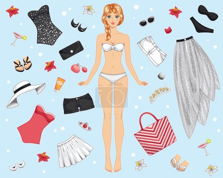 Paper doll in summer clothes