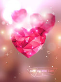 Vector illustration Blurred background with lights Valentine's day abstract background Invitation or greeting card template Geometric shapes Wallpaper