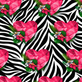 Animal print zebra texture Polygonal hearts and flowers Endless texture can be used for printing onto fabric and paper or scrap booking