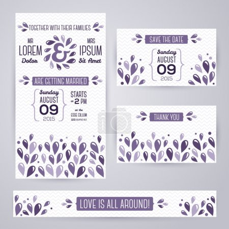Wedding invitation cards template with abstract violet elements.
