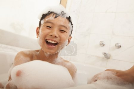 Young Boy in Bubble Bath