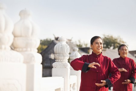 Photo for Two seniors practicing Taijiquan in Beijing - Royalty Free Image