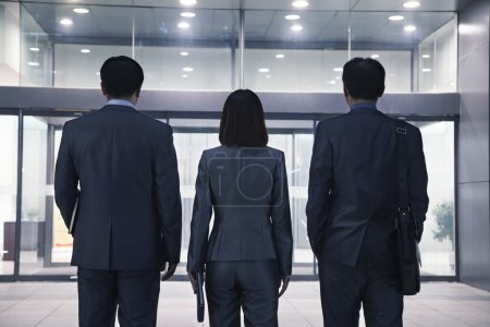 Photo for Three business people standing in a row, rear view - Royalty Free Image