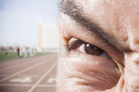 Athlete's eye with angry expression