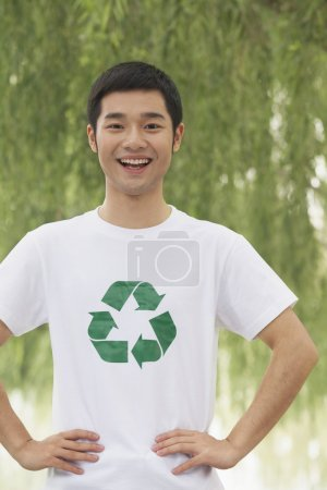 Man Smiling, Recycling Symbol
