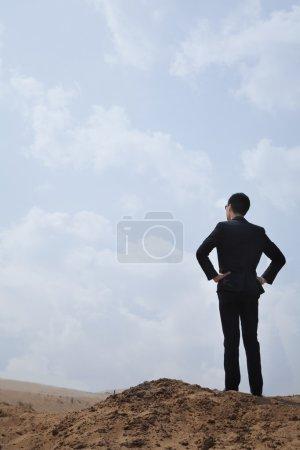 Foto de Joven hombre de negocios de pie con las manos en las caderas mirando hacia el desierto - Imagen libre de derechos