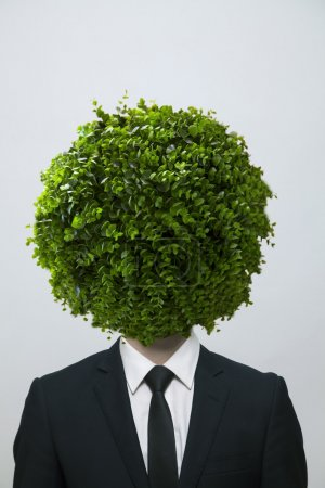 Businessman with a circular bush obscuring his face