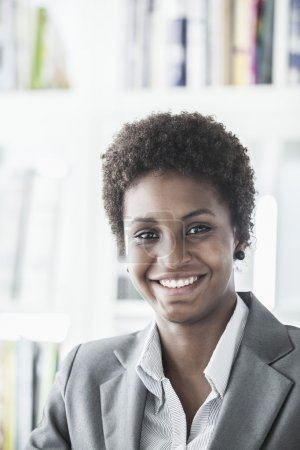 Young businesswoman with short hair
