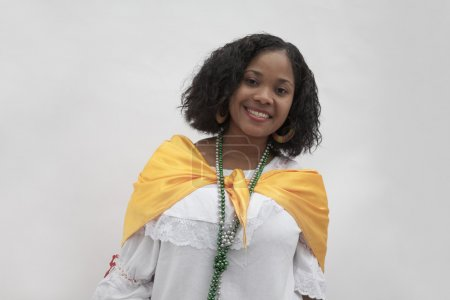 Woman wearing traditional clothing from the Caribbean