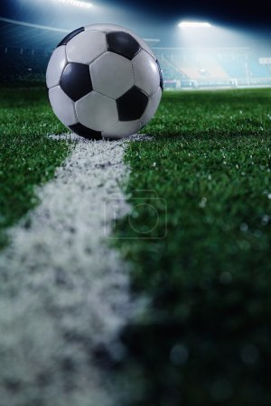 Photo for Soccer field with soccer ball and line, side view - Royalty Free Image