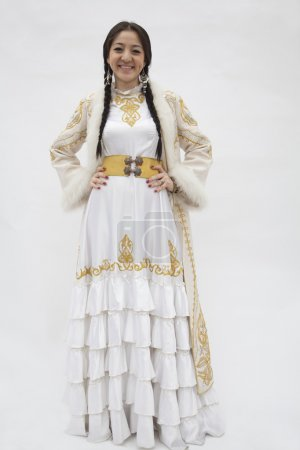 Woman in traditional clothing from Kazakhstan