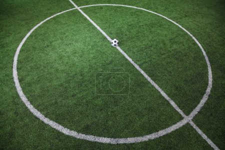 Photo for Soccer field with soccer ball on the line - Royalty Free Image