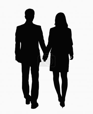 Silhouette of businessman and businesswoman holding hands