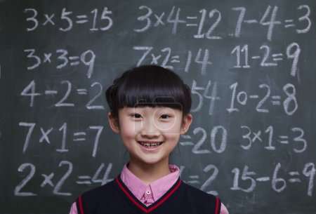 Schoolgirl in front of blackboard with math equations