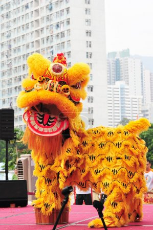 Photo pour La danse du lion est une forme de danse traditionnelle dans les cultures chinoise et indonésienne, dans laquelle les interprètes imitent les mouvements d'un lion en costume de lion. - image libre de droit