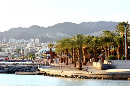 Beautiful view of Eilat resorts, hotels, coast and boats