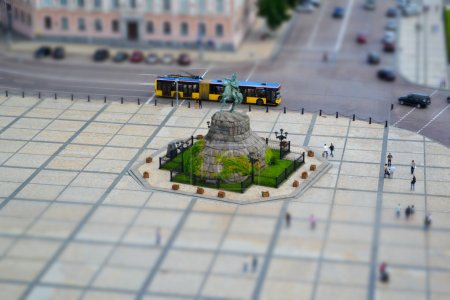 Tilt shift of famous monument to Bogdan Khmelnytsky on Sophia Square in Kiev, Ukraine