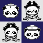 Cute little panda sailors and pirate