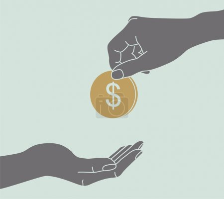Illustration for Hands Giving & Receiving Money - Royalty Free Image