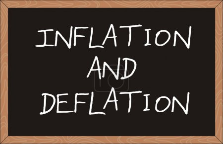 Illustration for Inflation and deflation word written on chalkboard - Royalty Free Image