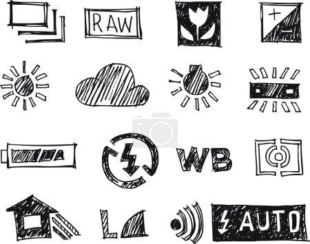 16 icon set, Photography doodle art style