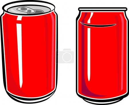 Illustration for Two Red Aluminum Can illustration - Royalty Free Image