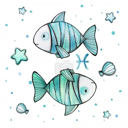 Cute watercolor illustration of Pisces astrological sign isolated on white