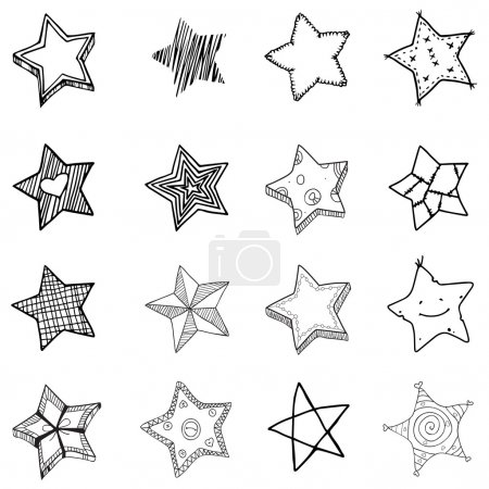 Illustration for 16 Simple Hand drawn stars shapes. Vector illustration - Royalty Free Image
