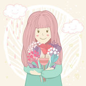 Pretty girl holding bunch of flowers on abstract floral background with clouds rain and hearts