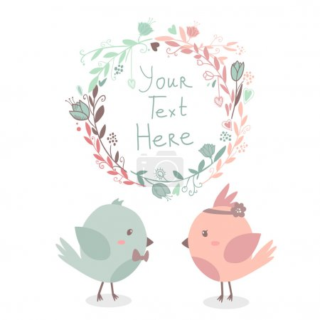 Illustration pour Belle carte de vœux vectorielle mignonne avec cadre floral et oiseaux amoureux ensemble. Peut être utilisé comme carte d'invitation pour mariage, anniversaire et autres jours fériés. Avec espace pour le texte - image libre de droit