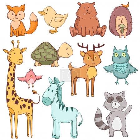 Photo pour Bébé animaux mignon ensemble collection. Illustration vectorielle isolée sur blanc - image libre de droit