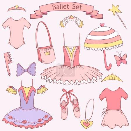 Vector cute ballet school set for little girl princess,each element on separate layer