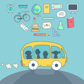 Bus riding back to school with icons