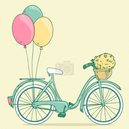 Bike with party balloons, basket with flowers