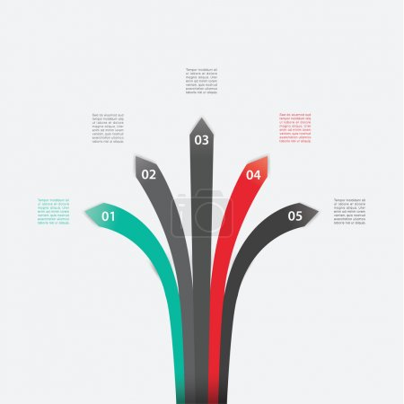 Illustration for Vector template. Five arrows with place for content. Five choices - steps in different colors. Abstract modern template for website, poster, cover or presentation. - Royalty Free Image