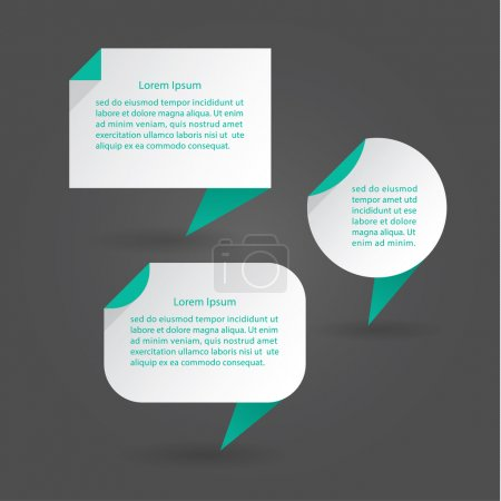 Illustration for Vector flat speech bubbles. Modern design speech bubbles with drop shadow. Three clean shapes. Minimalistic vector illustration. Elements for posters, presentations or websites. - Royalty Free Image