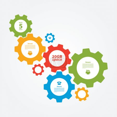 Illustration for Vector cogwheel template. Cogwheel connection, teamwork. Colorfully creative template with space for your content. - Royalty Free Image
