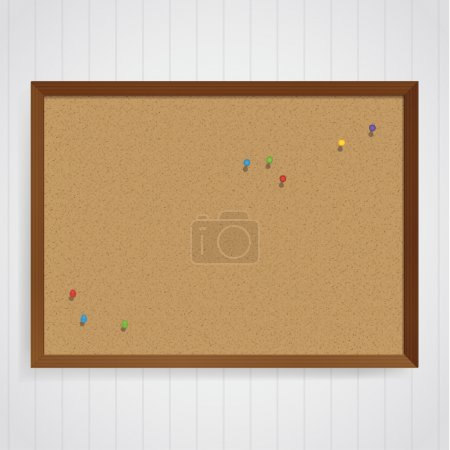 Vector corkboard template with colorfully pins on it. Message bo