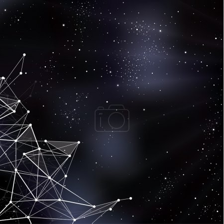 Illustration for Vector space illustration. Stylized outerspace background with place for your content. Abstract universe background. - Royalty Free Image