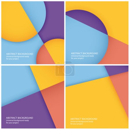 Illustration for Pack of vector abstract geometrical backgrounds. Easy to edit vector graphic. Fresh colorfully gradients. - Royalty Free Image