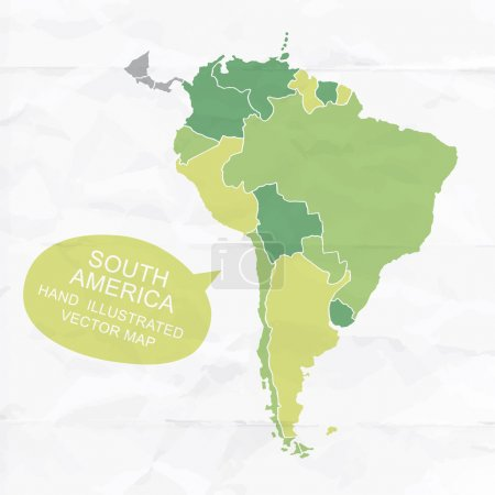 Colorfully vector hand illustrated map of South America.