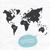 Hand illustrated vector map of World