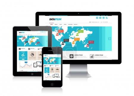 Illustration pour Modèle de conception de site Web sensible sur trois appareils, illustration vectorielle - image libre de droit