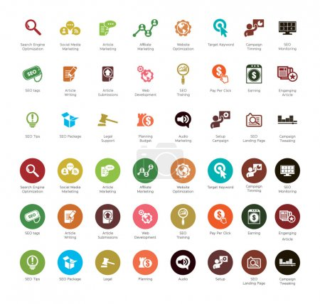 Illustration for SEO and Development icons, colorful series - Royalty Free Image