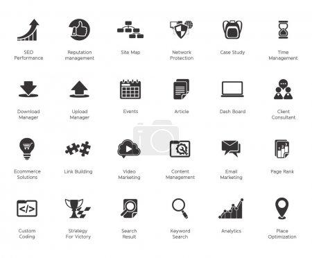 Illustration pour SEO et développement jeux d'icônes 2, noir - série basic - image libre de droit