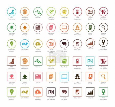 Illustration for SEO and Development icon sets 2, colorful circle and square series - Royalty Free Image