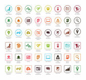 SEO and Development icon sets 2 colorful circle and square series