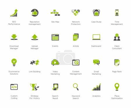 Illustration pour SEO et développement jeux d'icônes 2, noir - série verte - image libre de droit