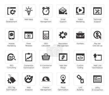 Illustration pour SEO et développement jeu d'icônes 4, série basic-noir - image libre de droit